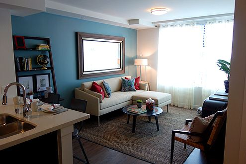 An example of a living room for a one bedroom unit