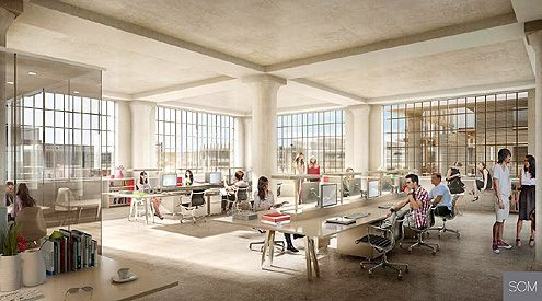 An interior rendering shows what the creative office space will look like when AEG moves in next year (Photo: SOM)