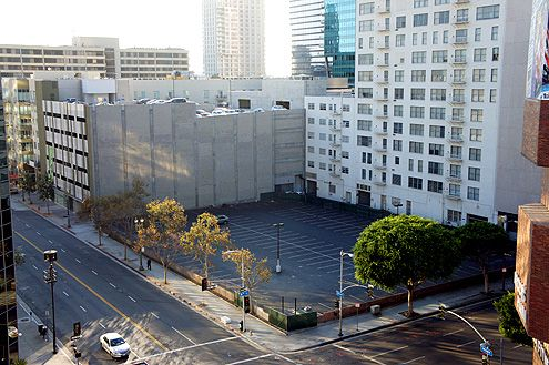 I took this picture back in Sep 2012 of this anti-pedestrian ugly surface parking lot at 8th and Hope in Downtown LA