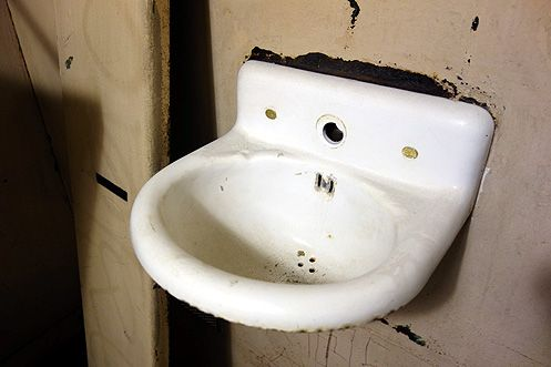 Did Charles Manson once use this little white sink?
