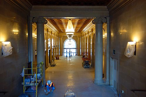 Marble columns and floors have also been restored