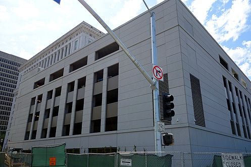 The new parking structure adjacent to the Hall of Justice