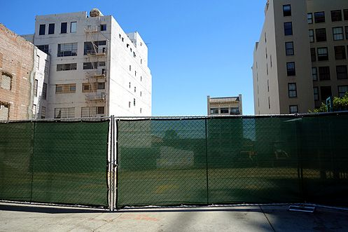 Green construction fencing has gone up where Topaz broke ground late last week