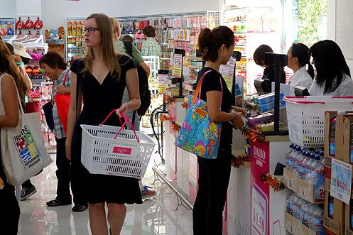 Customers shopping on the first day of opening for the new Daiso in Little Tokyo on Sat 9/27