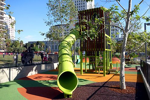 The new $1 million Grand Park Playground is now open at Grand Park across from LA City Hall