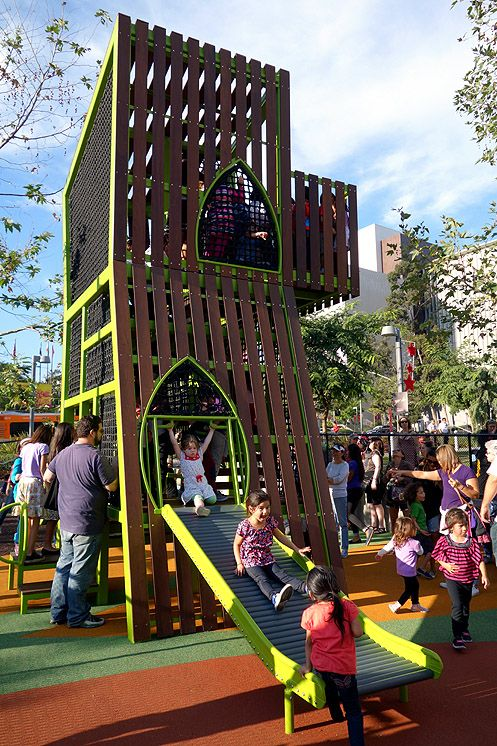 The jungle gym is meant to capture the imagination of children in Downtown LA like climbing a tree in the urban jungle