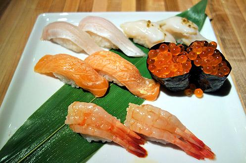 My sushi order included salmon roe (eggs), sweet shrimp, light seared salmon, and conch