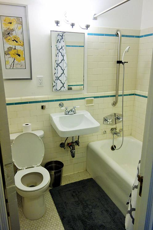Most of the bathrooms have original historic details left intact like the beautiful tiles on the walls and floor