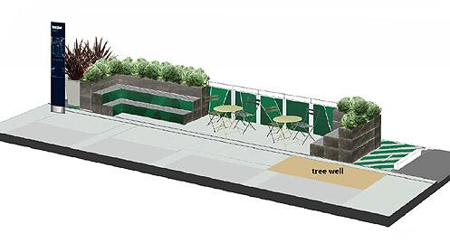 Rendering of a new parklet coming to 11th and Hope sponsored by the South Park BID