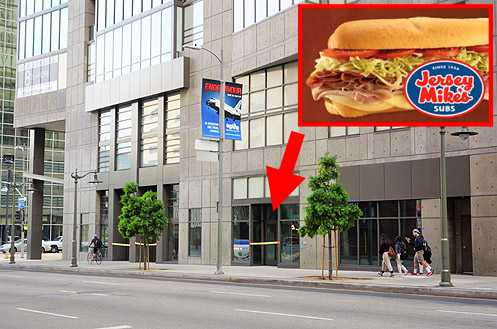 Downtown LA's first Jersey Mike's location is opening at 8th and Hope next to upcoming Philz Coffee