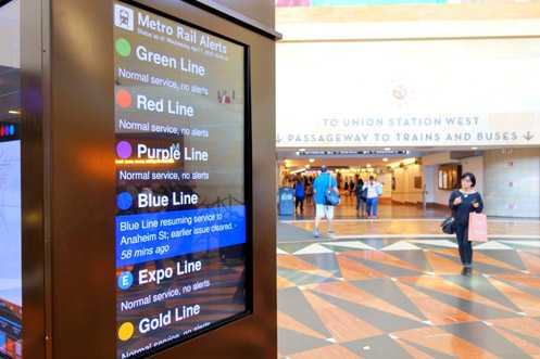 A new digital kiosk tower in the east wing provides helpful transit info