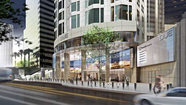 A new wall of glass will wrap around the tower's base offering views of the lobby interior, including a new giant LED video screen showcasing stunning visual images of Los Angeles (Photo: OUE)