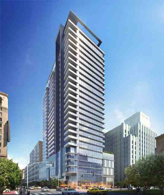 Rendering of 9th Street side of RTKL-designed Alexan high-rise (Photo: TCR)