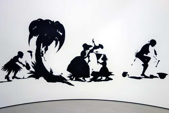 Kara Walker's African't (1996) cut paper on wall