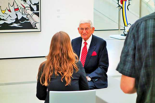 Eli Broad speaks with media before his museum opened to the public on Sept 20, 2015