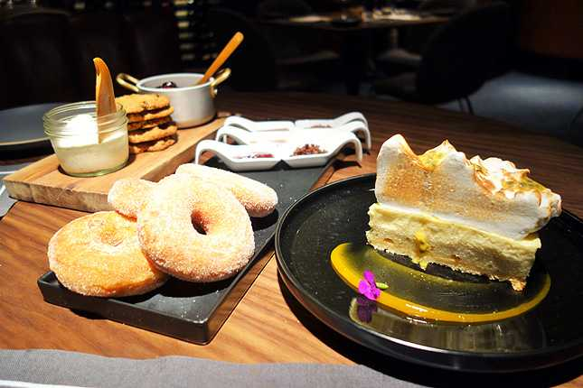 Dessert can include buttermilk donuts, oatmeal cookies, and the Meyer lemon meringue pie (Photo: Brigham Yen)
