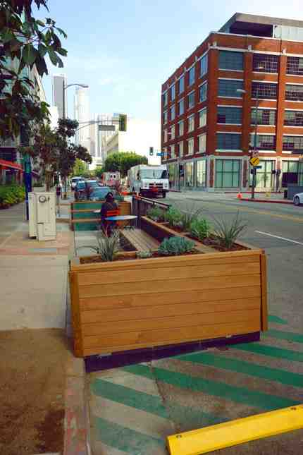 The new parklet is installed along Hope Street in South Park