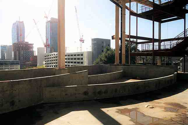 The ballroom will have outdoor patio areas like this one with concrete planters and city views