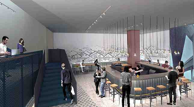 The ground floor bar lounge will offer members artisanal coffee/tea and beer/liquor (Photo: Cross Campus)