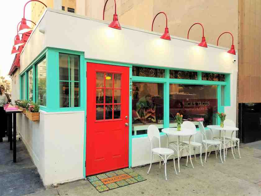 What was once a muted taco shop has been transformed into a bright and colorful taco destination