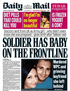 "Front page of the Daily Mail, with headline ""Murdered WPC and grieving boyfriend she left behind"""