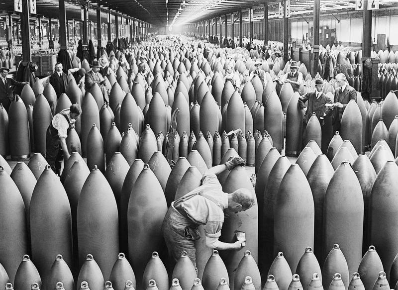 Munitions workers painting shells at Chilwell, Nottinghamshire c