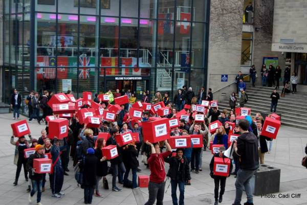 UEA students protest against student loan privatisation. Photo credit: Cadi Cliff