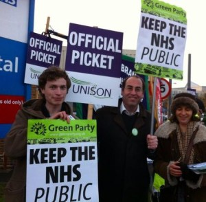 Green Party trade unionists on strike