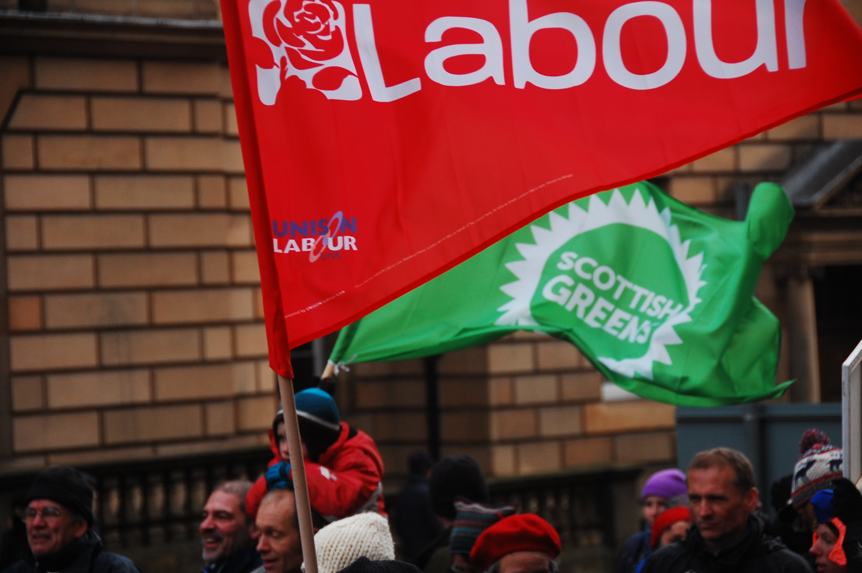 (Labour and Scottish Green Party flags, via Bright Green)