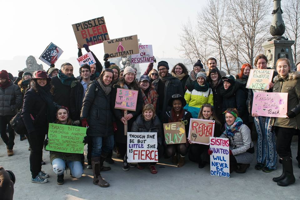 A photo of the WOmens March in Budapest