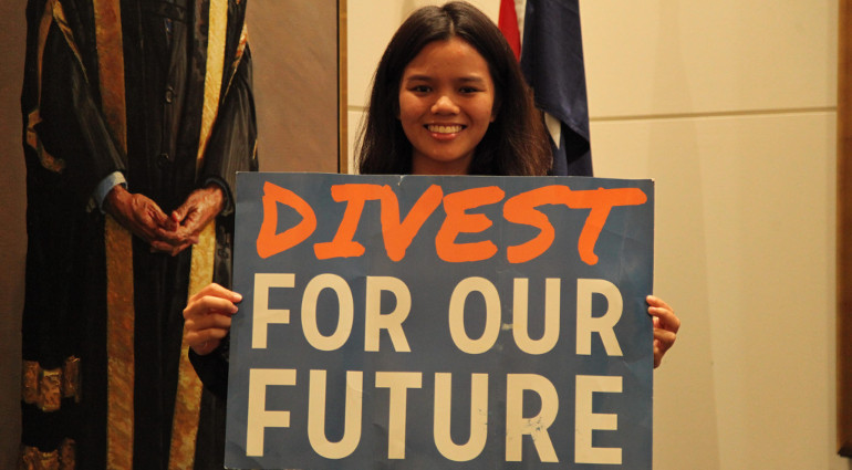 Fossil fuel divestment placard