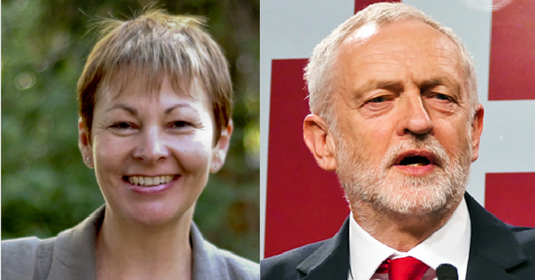 Caroline Lucas and Jeremy Corbyn
