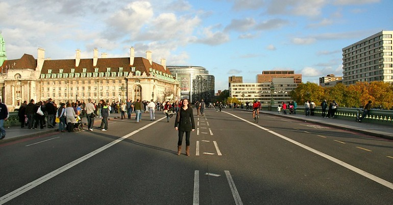 A car-free road in London
