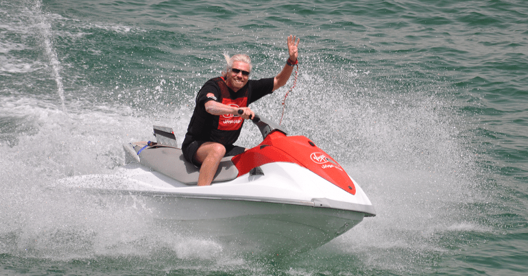 Richard Branson on a power boat