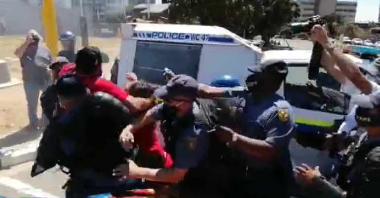 Arrest of South African trade unionist Andre Adams