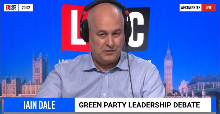 Iain Dale chairing the Green Party leadership debate