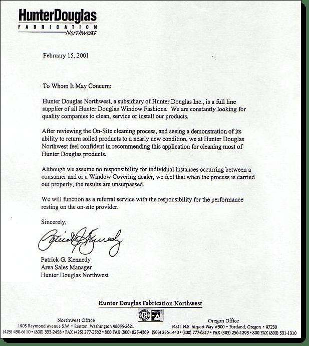 hunter Douglas Letter