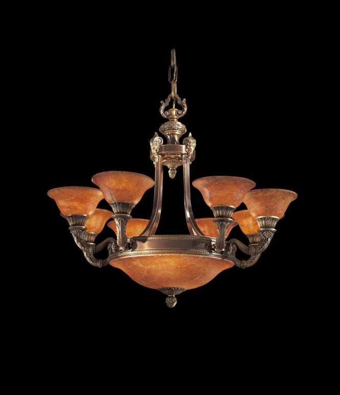 Twelve Light Antique Bronze Brandy Alabaster Glass Up Chandelier