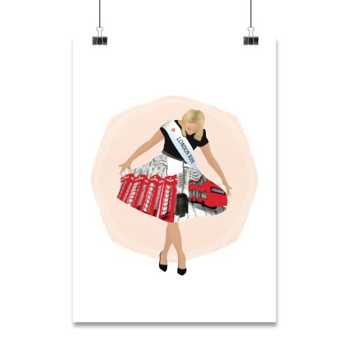 Character illustration example hanging on clips. Character of girl holding her skirt with London landmarks and she is looking down at her skirt.