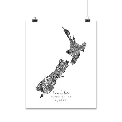 Mandala design inside the shape of New Zealand with a heart icon marking the location of an engagement
