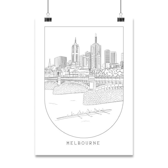 Melbourne Landmark illustrations including flinders street station, Beach boxes and Luna Park