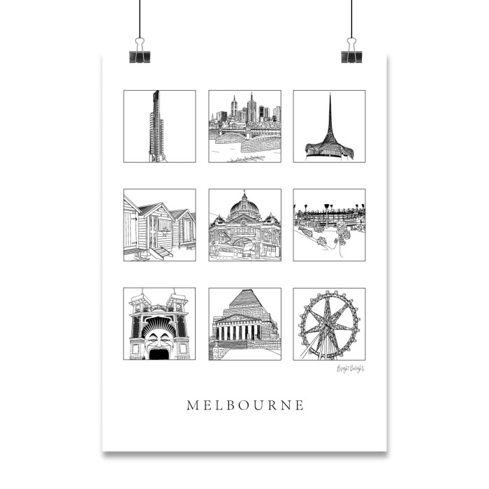 Melbourne Landmarks illustrations including flinders street station, Beach boxes and Luna Park