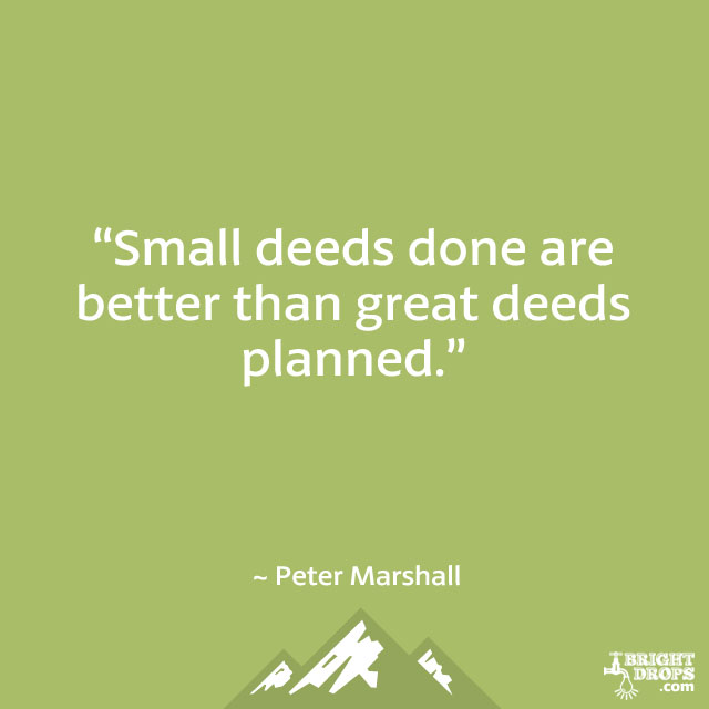 """Small deeds done are better than great deeds planned."" ~ Peter Marshall"