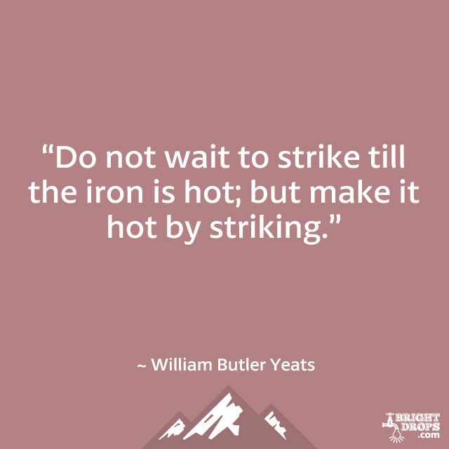 """Do not wait to strike till the iron is hot; but make it hot by striking."" ~ William Butler Yeats"