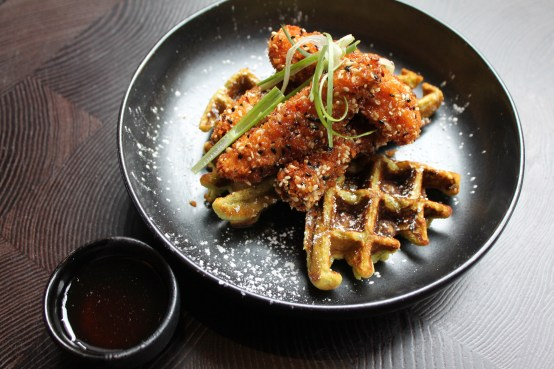 us shot - brunch - chicken and green tea waffles