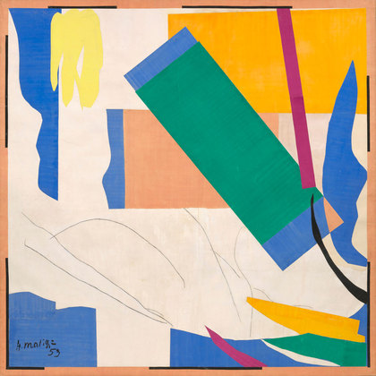 Henri Matisse (French, 1869–1954). Memory of Oceania. Nice-Cimiez, Hôtel Régina, summer 1952–early 1953. Gouache on paper, cut and pasted, and charcoal on paper mounted on canvas, 9′ 4″ x 9′ 4 7/8″ (284.4 x 286.4 cm). The Museum of Modern Art, New York. Mrs. Simon Guggenheim Fund. © 2014 Succession H. Matisse, Paris/Artists Rights Society (ARS), New York