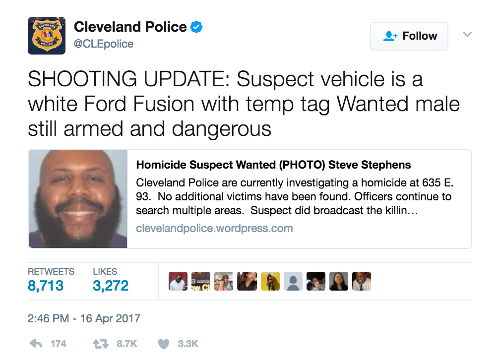 Steve Stephens is on the run after committing a homicide on Facebook Live