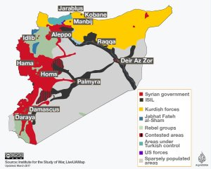 A map of the Syrian civil war showing who controls what
