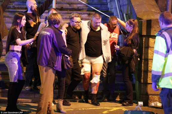 Ariana Grande fans leave Manchester Arena after the attacks
