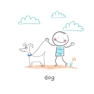 A man walking with a dog. Illustration.